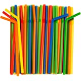 Assorted Colors Giant Smoothie Flexible Straws, Pack of 100 Pieces