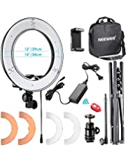 Neewer 36cm Exterior LED Anillo de Luz 36W 5500K con Soporte de Luz Kit: Tubo Suave,Filtro de Color,Adaptador de Zapata Caliente,Receptor Bluetooth para Disparo Cámara Smartphone Youtube Video