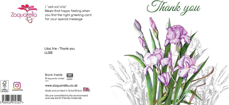Thank You Greeting Card Blue Iris Flowers Thanks Botanical Watercolour Original Art Thankyou Blank Inside