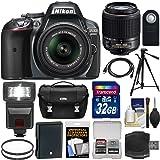 Nikon D5300 Digital SLR Camera & 18-55mm G VR DX II Zoom (Grey) + 55-200mm DX AF-S Lens + 32GB Card + Battery + Case + Tripod + Flash + Filters Kit