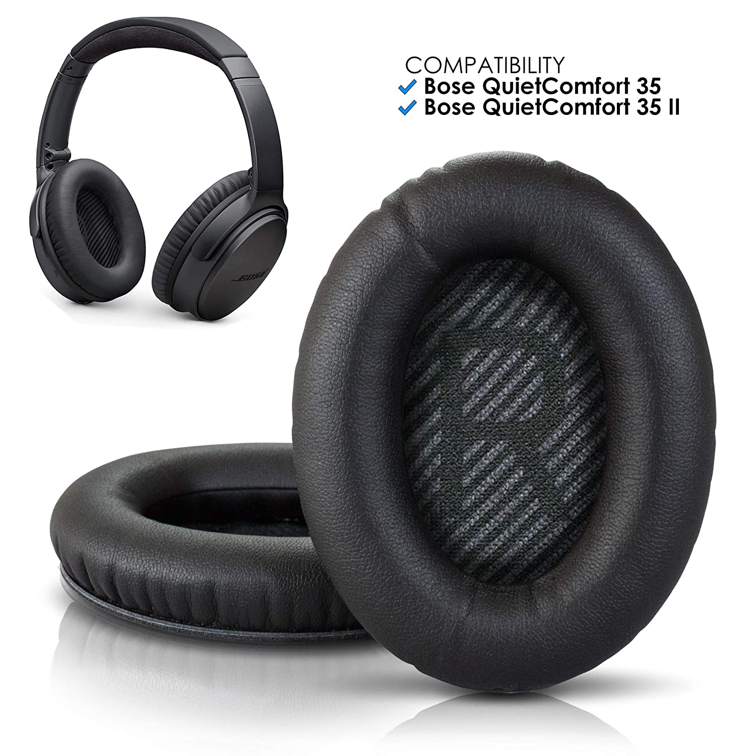 Wicked Cushions Premium Bose QC35 Replacement Ear Pads - Compatible with  QuietComfort 35 & 35 ii | Black