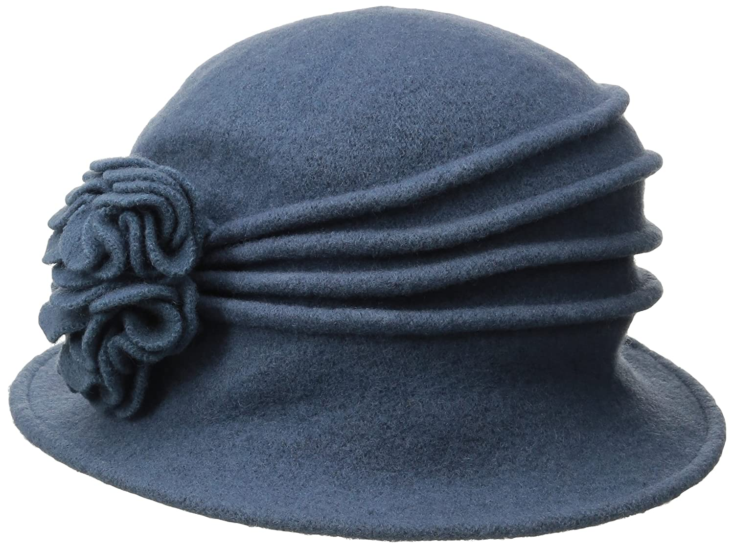 ab934d36579 Scala Women s Boiled Wool Cloche Hat with Flower