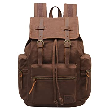 Hynes Eagle Women Men Vintage Leather Canvas Bag Backpack Outdoor ...