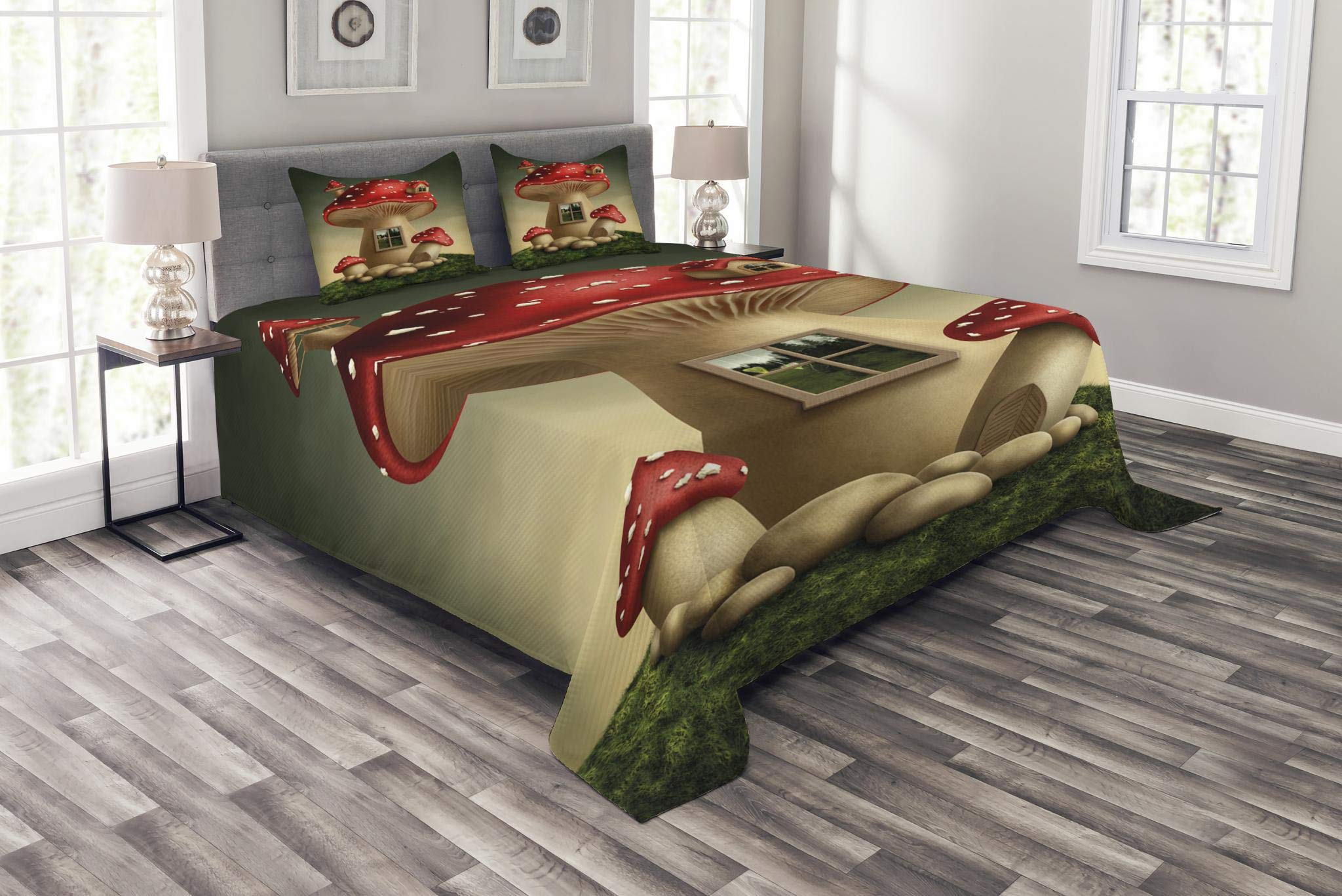 Lunarable Mushroom Bedspread Set Queen Size, Alone Fantasy Mushroom House in Fantasy Forest Cottage Window Surreal, Decorative Quilted 3 Piece Coverlet Set with 2 Pillow Shams, Pale Brown Green Red