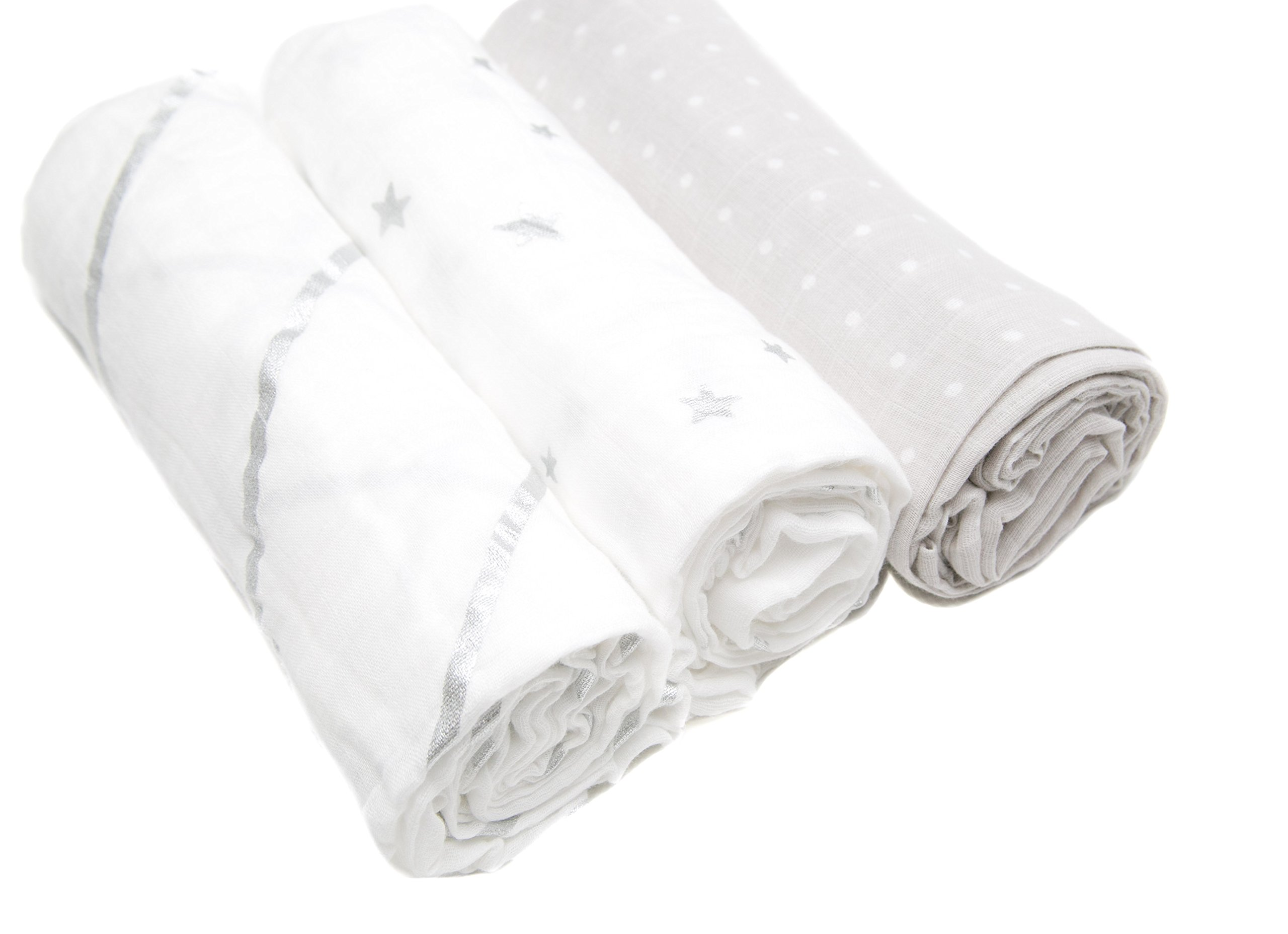 Sugar & Spice 3 pack Super Soft Muslin Baby Swaddle Blankets, Silver, White and Grey