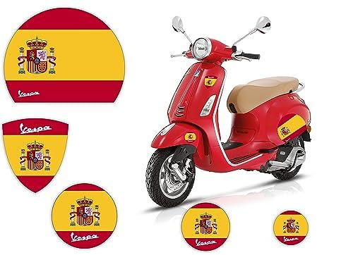 Pegatinas de motos - VESPA - BANDERA - ESPAÑA - Kit Logotipo Scudetto Círculos Casco Paneles laterales Piaggio ET2 ET4 PX: Amazon.es: Handmade