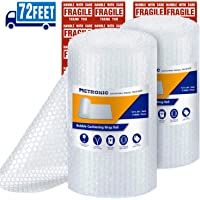 """Metronic 3/16"""" Small Bubble Roll- Perforated 12x12, 2 Rolls 72 Ft Air Bubble Cushioning Roll, Included 20 Fragile Sticker Labels for Packing Moving Shipping Boxes Supplies"""