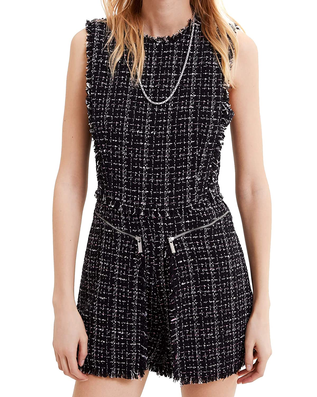 ad5eac751c0f Zara Women s Tweed Pinafore Jumpsuit 2236 644 Black  Amazon.co.uk  Clothing