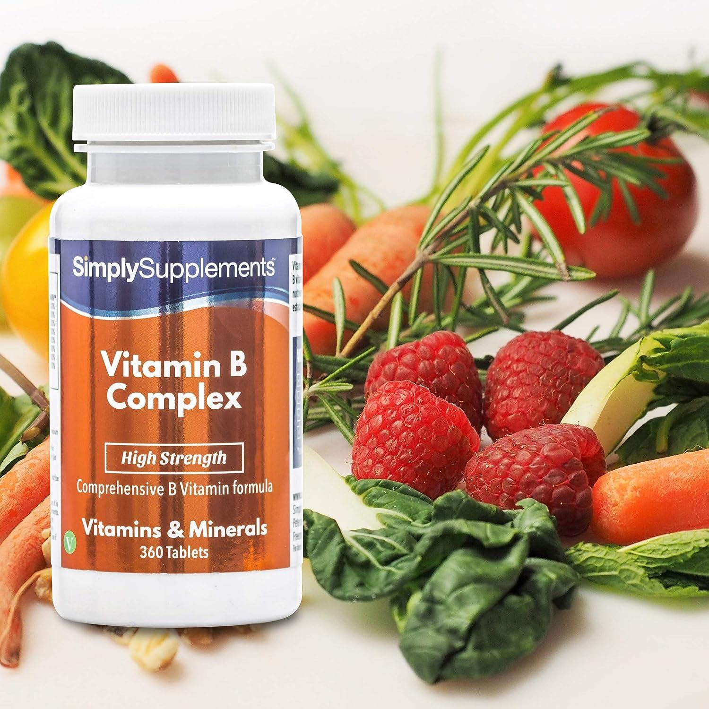 Vitamina B complex- Con todas las vitaminas del grupo B- Apta para veganos - ¡Bote para 1 año! - 360 comprimidos -Simply Supplements