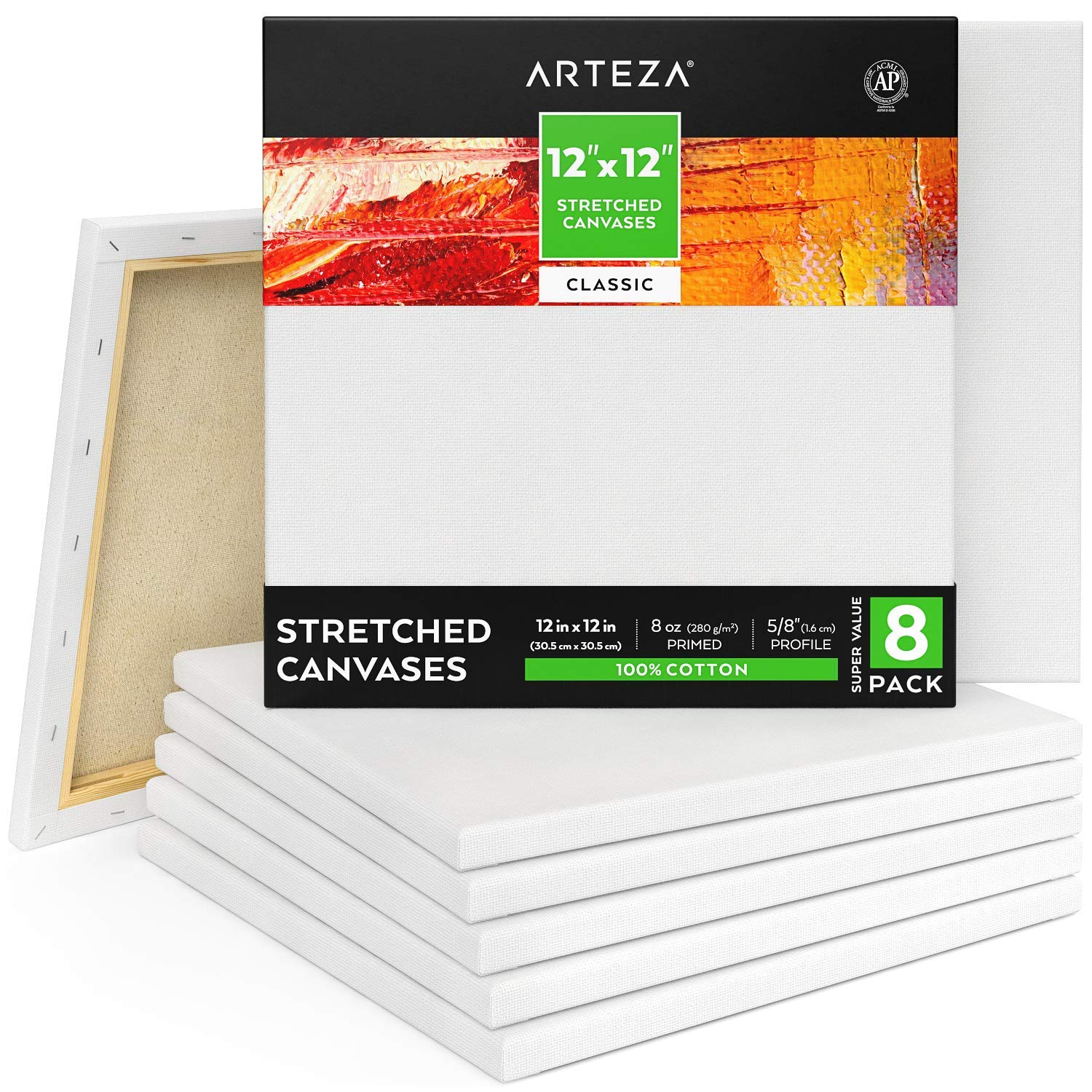 With a Big Pack of 12 inch Square Canvases in 100% Cotton you won't have to stop painting!