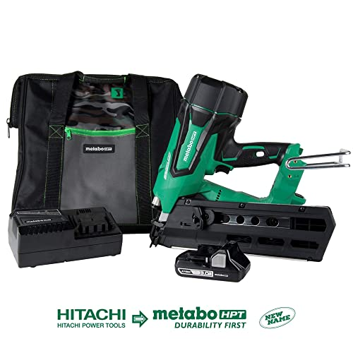 Metabo HPT Cordless Framing Nailer Kit, 18V, Brushless Motor, 2 Up To 3-1 2 Framing Nails, Compact 3.0 Ah Lithium Ion Battery, Lifetime Tool Warranty NR1890DR