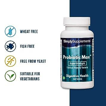 Probiotic Max - 360 comprimidos - 6 meses de suministro - Probiotico con Bacillus Coagulants para la flora intestinal - SimplySupplements