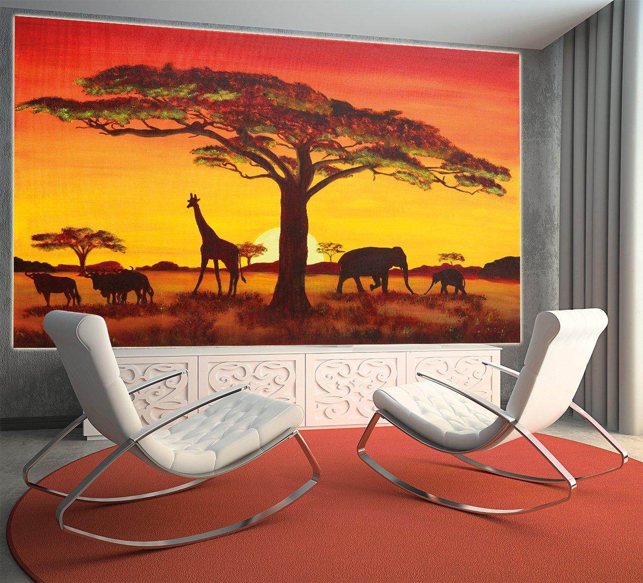 GREAT ART Sonnenuntergang in Afrika Wanddekoration - Wandbild ...