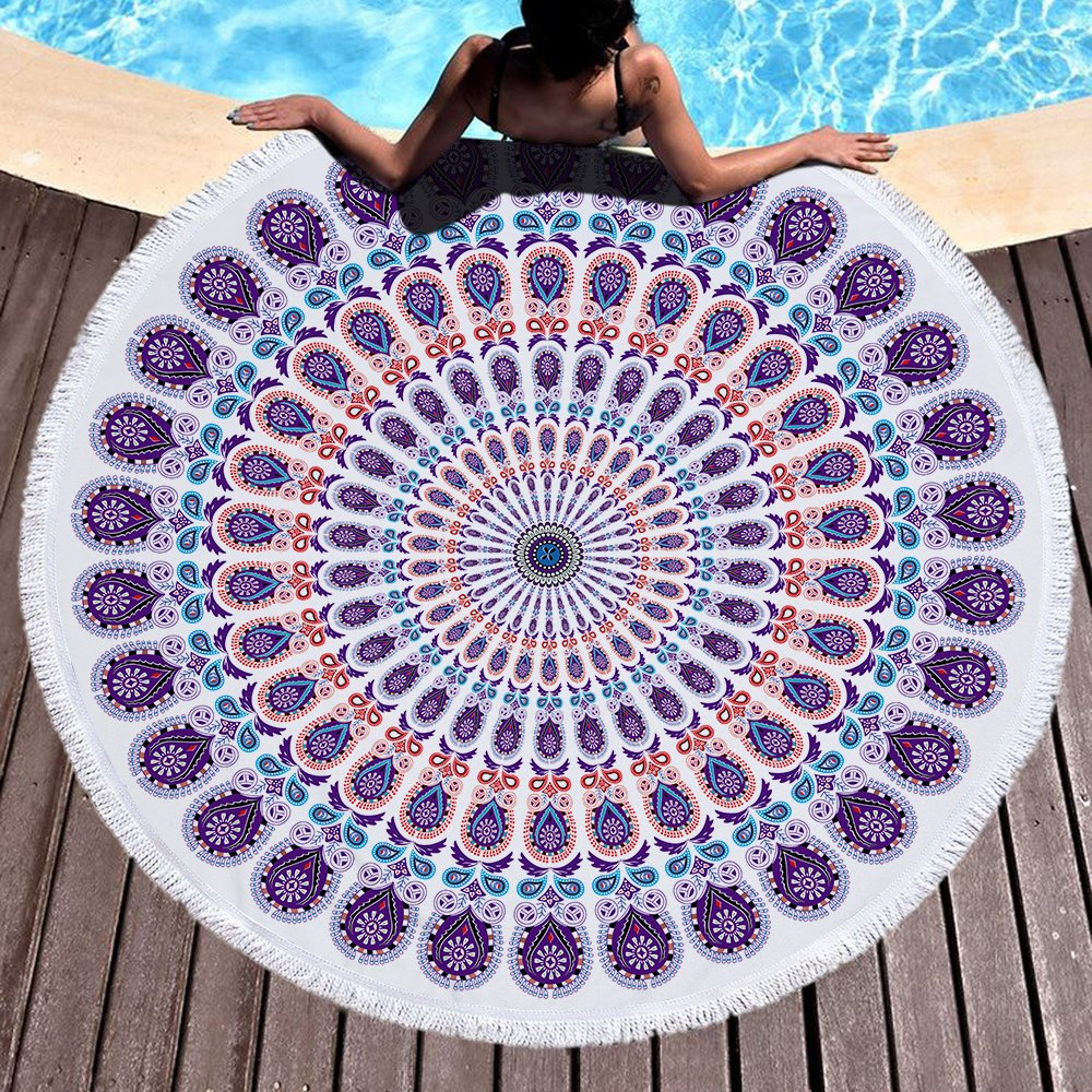 Violet Mist Round Roundie Indian Mandala Beach Towel Yoga Mat Blanket Table Cloth Cover Boho Gypsy Tapestry Soft Absorbent Blanket Throw 59 with Tassel Fringing Blue Stripe