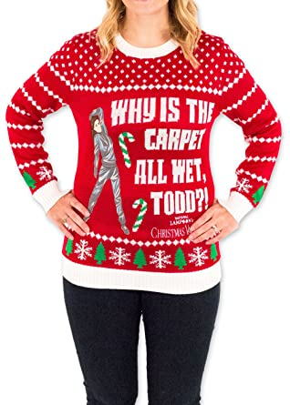 Womens Christmas Vacation Carpet All Wet Todd Ugly Sweater In Red By Festified X