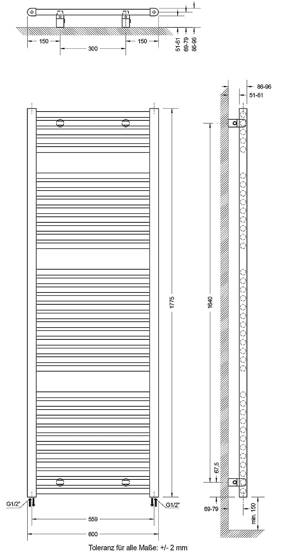 Design-Heizk/örper f/ür Zweirohr-System 177 x 60 cm Schulte Badheizk/örprer Bavaria Standardanschluss unten au/ßen alpin-wei/ß