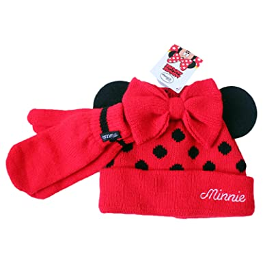 af57ffe4bba Girls Disney Minnie Mouse Red Black Winter Beanie Hat Mittens Bow Minnie  Mouse Ears Polka Dot