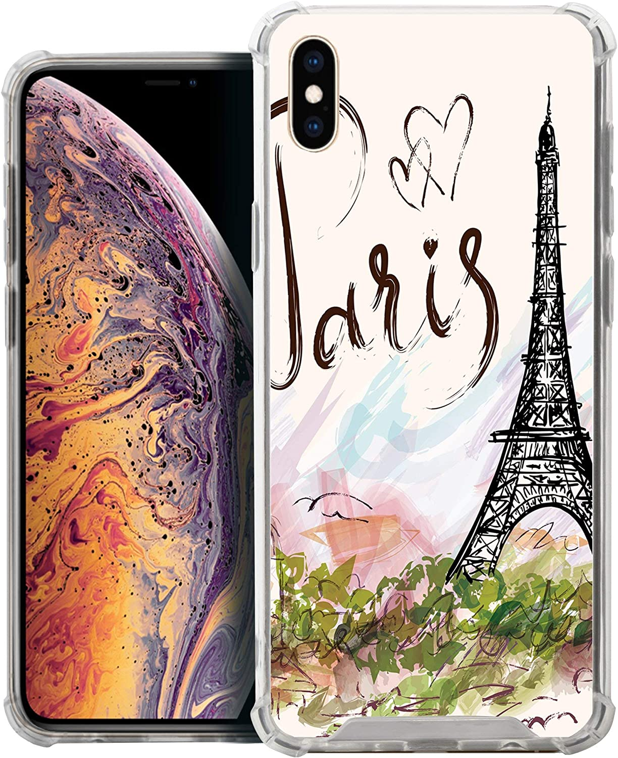 CasesOnDeck Case Compatible with [Apple iPhone Xs Max] iPhone Xs Max TPU Case, Slim Transparent Flexible TPU Cover with Bump and Drop Corner Protection (Paris Tower)