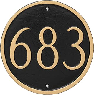 "product image for Montague Metal Circle Address Sign Plaque, 6.5"" x 6.5"", White/Black"