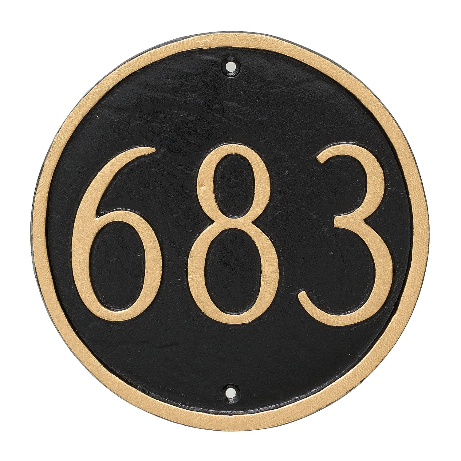 Montague Metal Circle Address Sign Plaque, 6.5 x 6.5, Black/Gold 6.5 x 6.5 PCS-0001P1-W-BG
