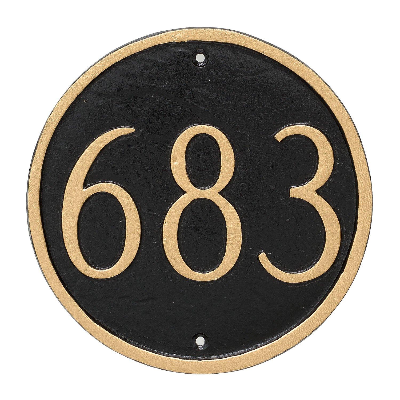 Montague Metal Circle Address Sign Plaque, 6.5'' x 6.5'', White/Black