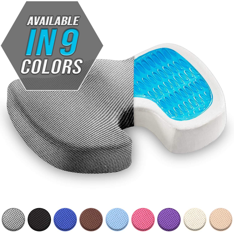 Seat Cushion Orthopedic Gel Memory Foam Coccyx Cushion for Tailbone Pain Office Chair Car Seat Cushion Sciatica Back Pain Relief Grey
