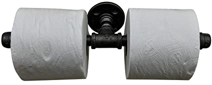 DIY CARTEL Industrial Pipe Multi Roll Toilet Paper Tissue Holder Black Iron - Commercial/Heavy Duty - Style: Modern, Vintage, Rustic, Steampunk, and ...