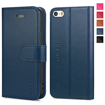 TUCCH Funda iPhone SE, Funda iPhone 5S, Funda iPhone 5S Billetera para Tarjetas, Carcasa en Folio, Amortiguación de TPU Interior Suave, Soporte ...