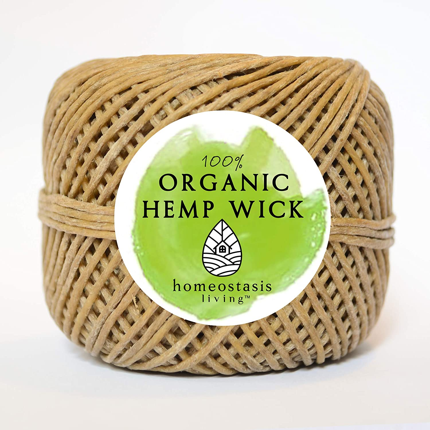 1 200ft Inzopo Organic Hemp Wick with Natural Beeswax Coating Candle Wick DIY 200 Feet