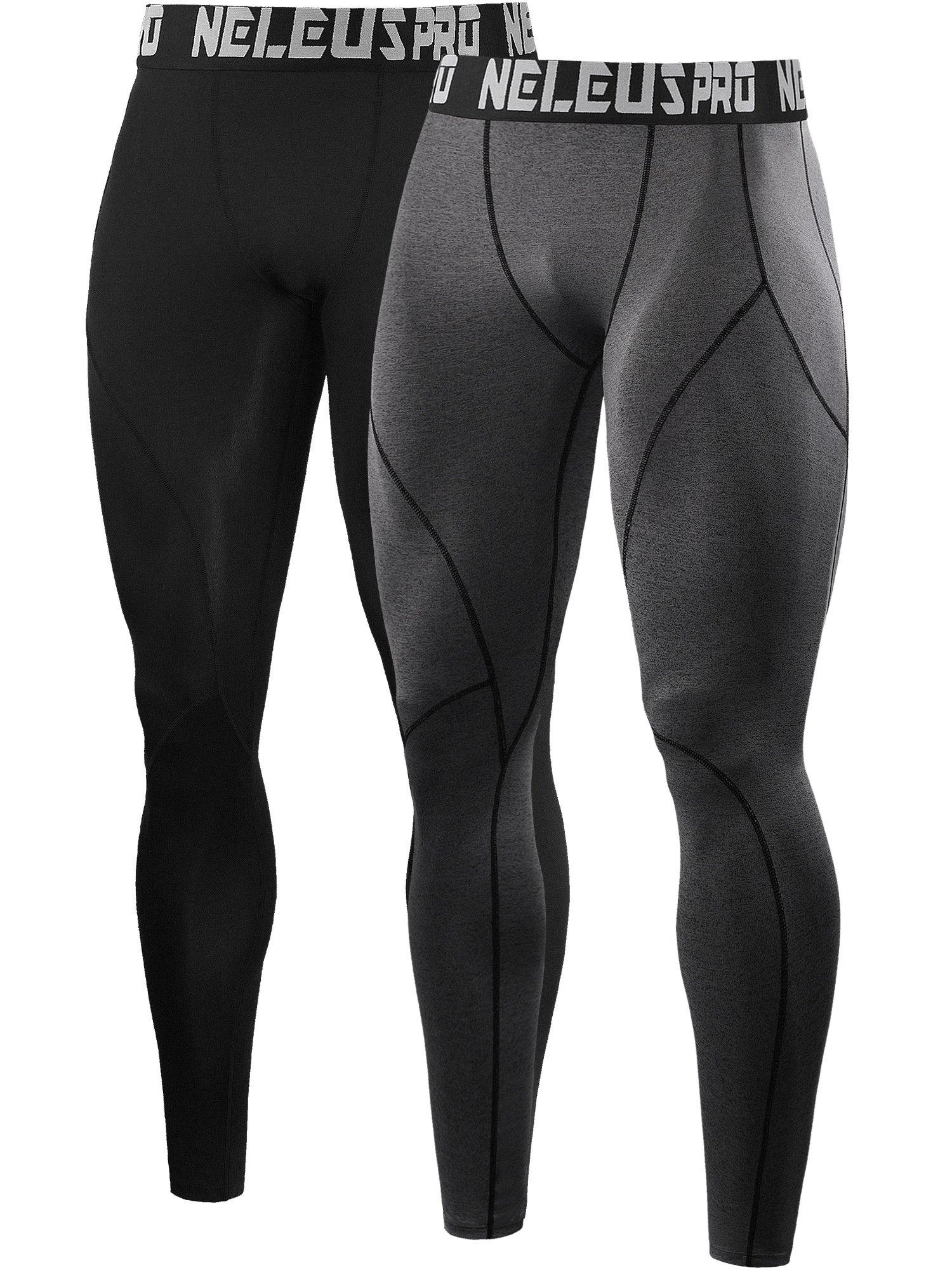 Neleus Men's 2 Pack Compression Pants Workout Running Tights Leggings,6013,Black,Grey,US S,EU M