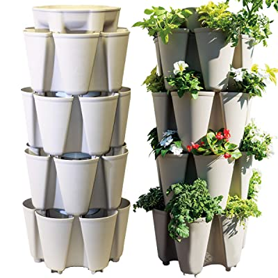 Greenstalk Huge 4 Tier Vertical Planter – for Urban and Small Space Gardening (Stunning Stone) : Garden & Outdoor