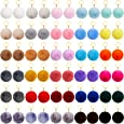 60 Pieces Colorful Pom Poms Keychains Fluffy Ball Pompoms Key Chain Faux Fur Pompoms Keyring for Girls Women Hats Shoes Bags Accessories (3 Inch)
