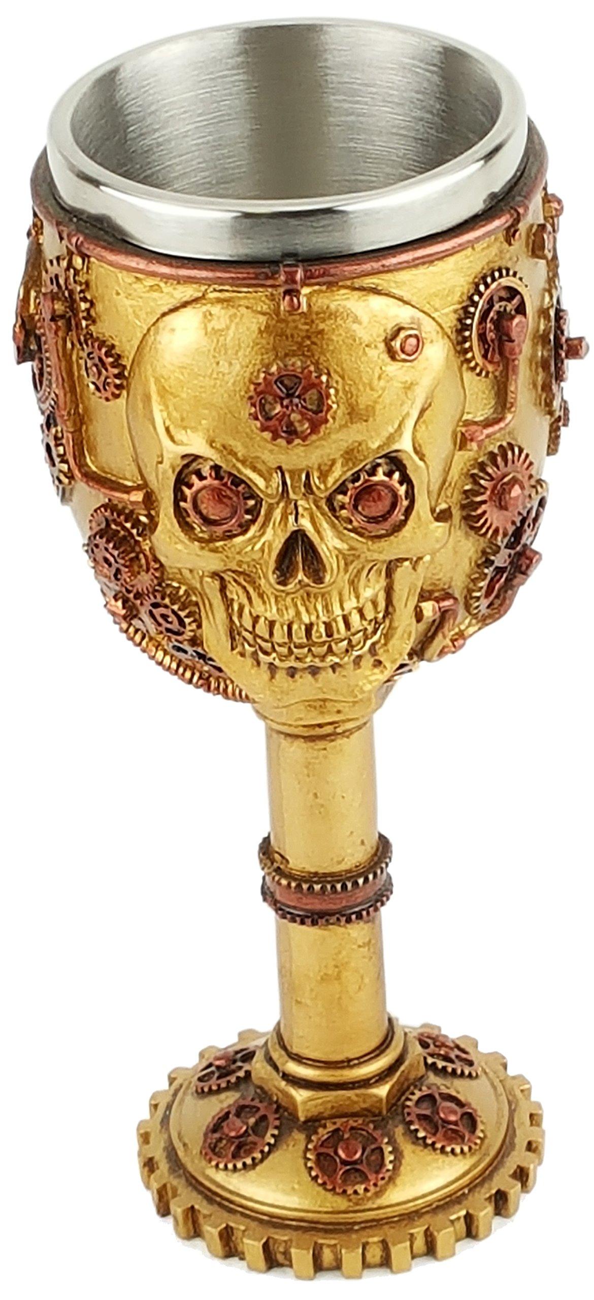 Steampunk Skull, 3D Novelty Chalice/Goblet, Stainless Steel Liner SU59