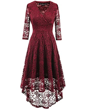 Tempt Me V Neck Lace Dress Straps High-Low Wedding Bridesmaid Evening Prom Dress Red