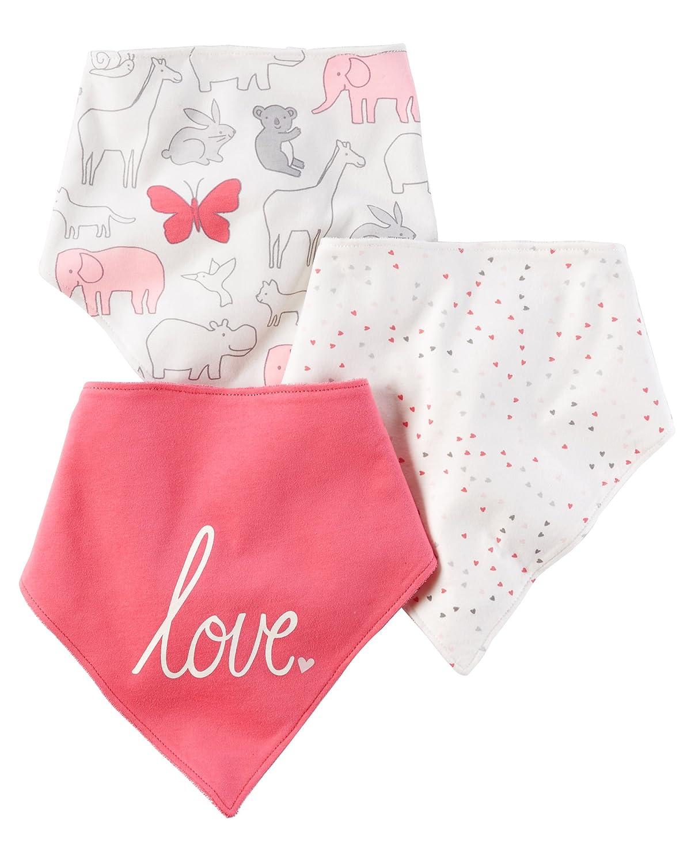Carters Unisex Baby 100% Cotton Jersey Bandana Bib 3 Pack Pink Love