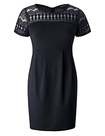 0e72d588690 Chicwe Women s Plus Size Dots Lace Stretch Dress- Casual Work Dress with  Pockets Black 1X