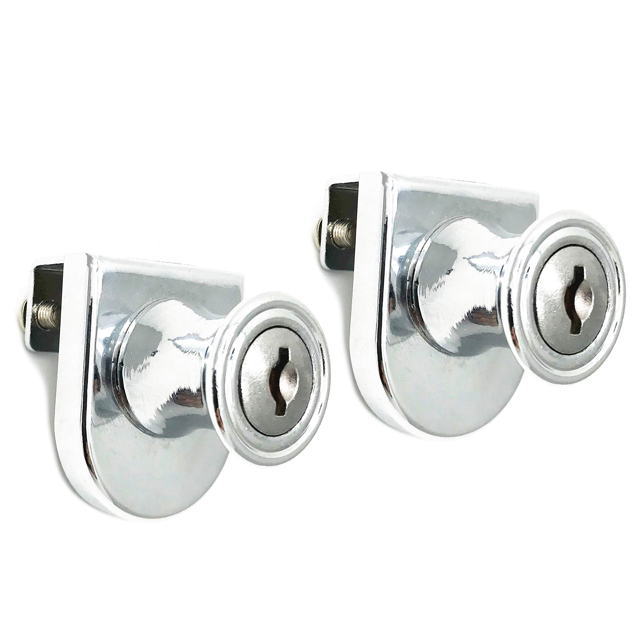 XMHF 2Pcs Glass Display Cabinet Showcase Lock Hinged Locker Zinc Alloy Chrome Finish, Key Different