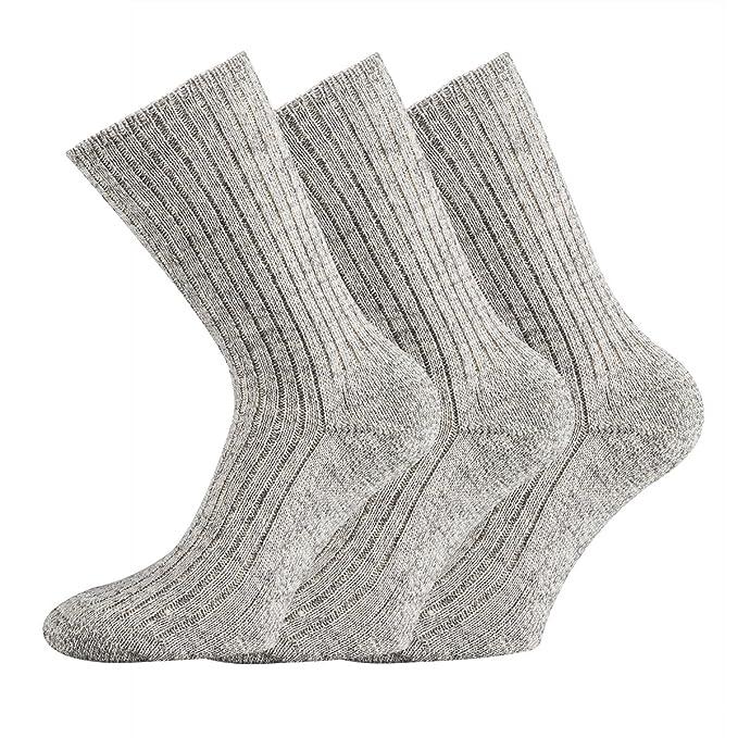 TippTexx24 ® 3 pares de calcetines Noruego 100% Lana sin goma impresión graumeliert Heather Grey: Amazon.es: Ropa y accesorios