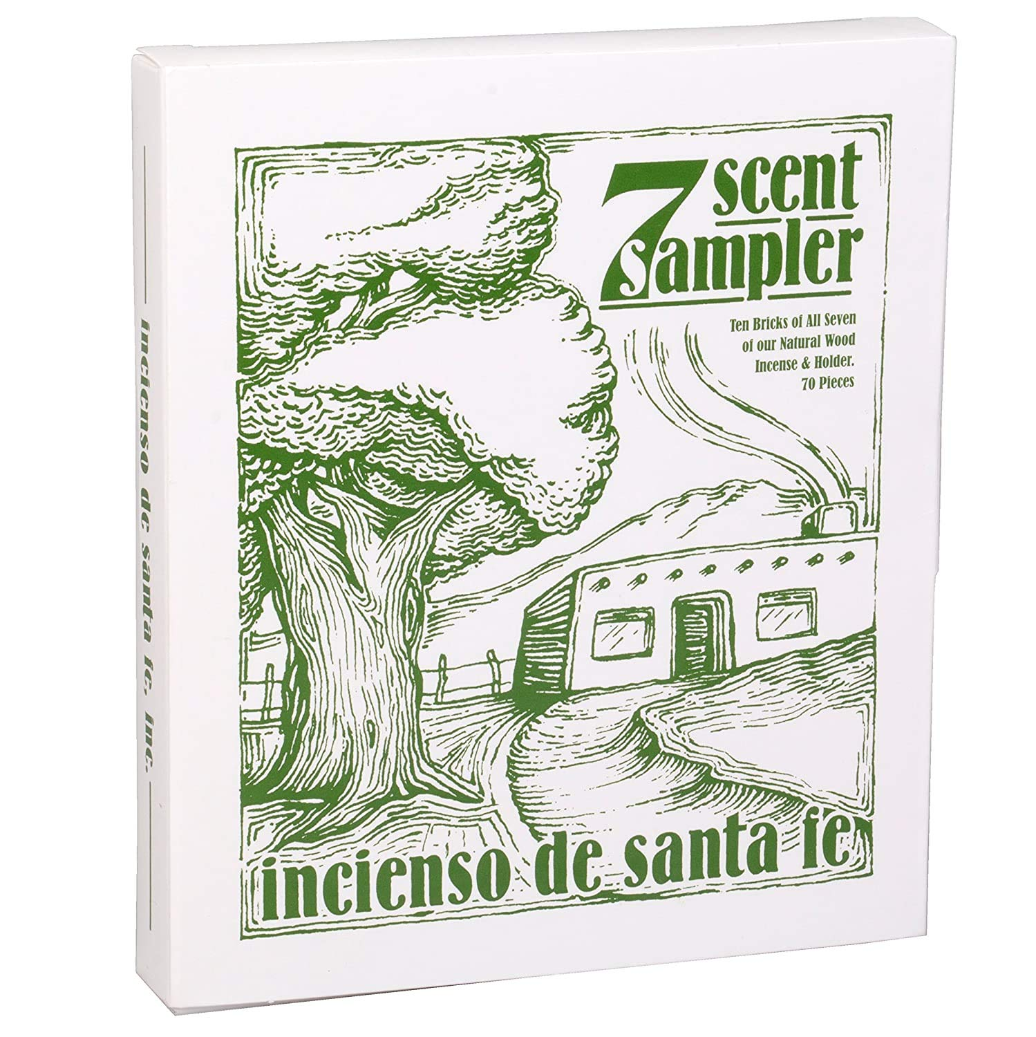 Incienso de Santa Fe - 7 Scent Sampler Natural Wood Incense with Burner, Includes Piñon, Cedar, Juniper, Hickory, Alder, Mesquite and Fir Balsam (70 Bricks)