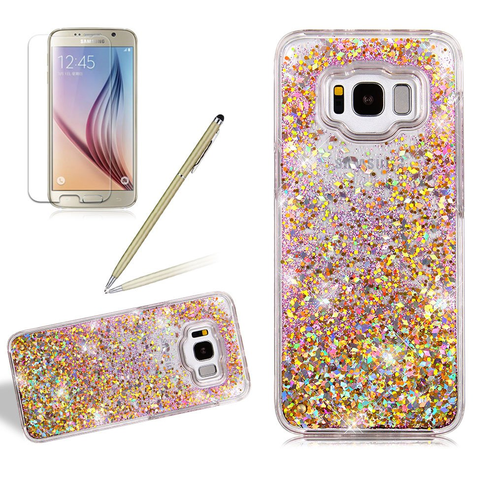 Liquid Case Cover For Samsung Galaxy S8 PLUS, Girlyard Slim Fit Bling Quicksand Hard Case Cover Glitter Sparkle Stars Flowing Liquid Hard Case Cover Leaves Moving Floating Ultra Clear Protection Back Case Cover, Gold