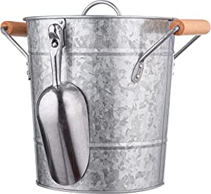 Royalty Art Vintage Ice Bucket with Lid, Scoop, and Carry Handles for Parties, Backyard Barbecues, Picnics, and Camping, Heavy Duty Galvanized Steel for Outdoor Bar Use