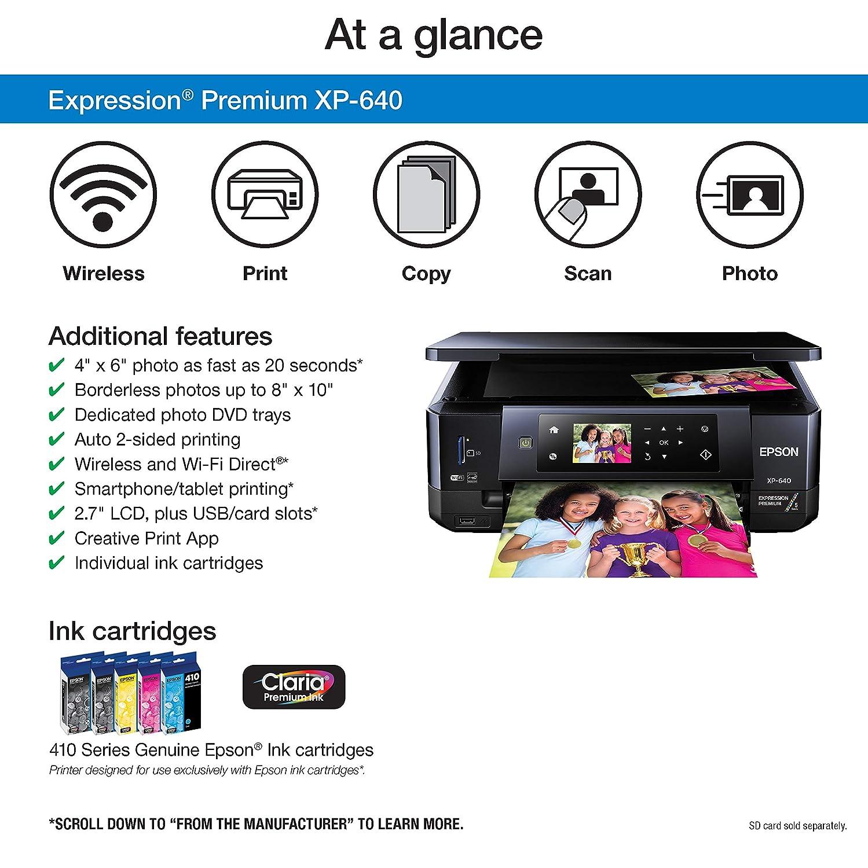 Epson XP-640 Wireless Color Photo Printer 2 7, Amazon Dash Replenishment  Enabled