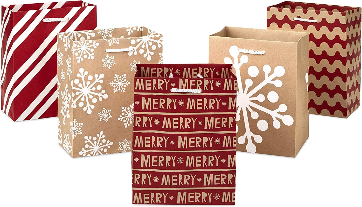"""Hallmark 6"""" Small Holiday Gift Bag Set (Pack of 5; Red, White and Kraft) Snowflakes, Stripes, Merry"""