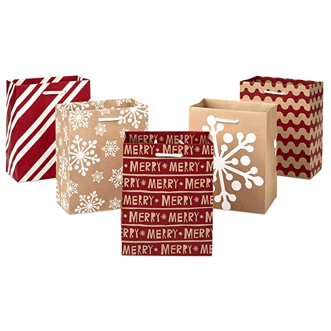 Hallmark Holiday Small Gift Bag Set - Snowflakes, Stripes, Merry (Pack of 5; Red, White and Kraft) - 5XGB1798