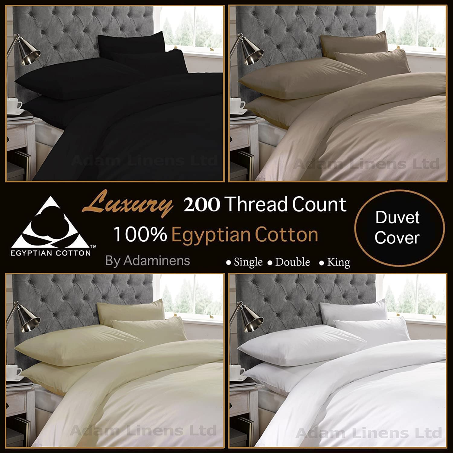 Adamlinens Luxury 100/% Egyptian Cotton Percale 200 Thread count Hotel Quality Duvet cover Quilt cover White,Single