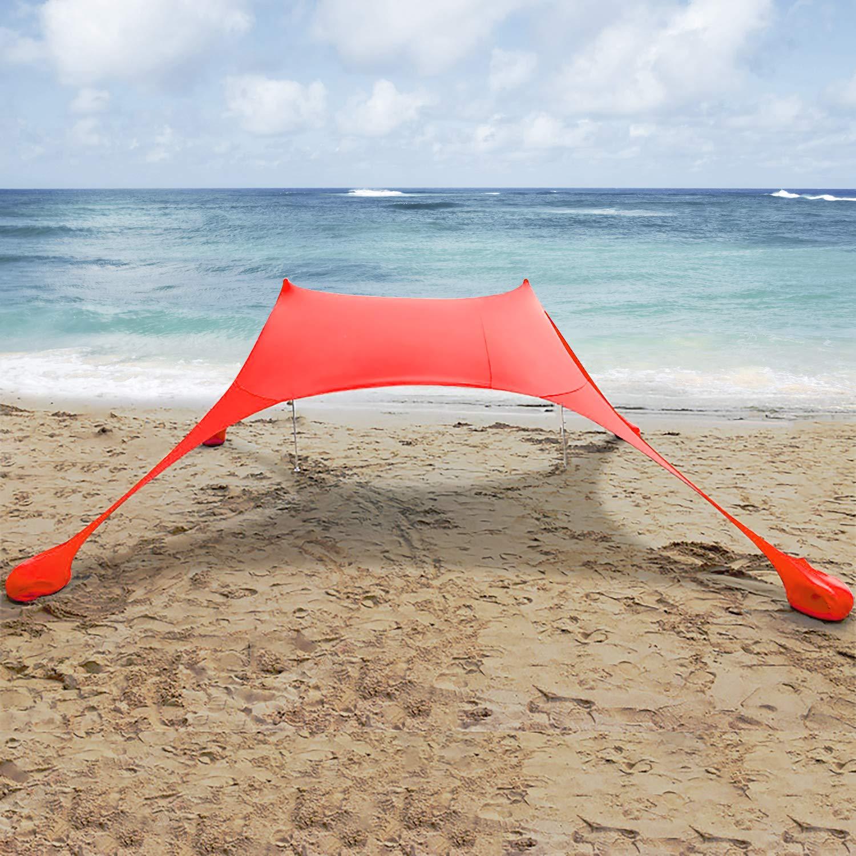 Parques Rojo amping y Picnic Lovebay Toldo port/átil Playa con Anclajes de Bolsas de Arena Ligero 100/% Lycra SunShelter con Impermeable UV Protection 210 x 210 CM para ni/ños y Familia en la Playa