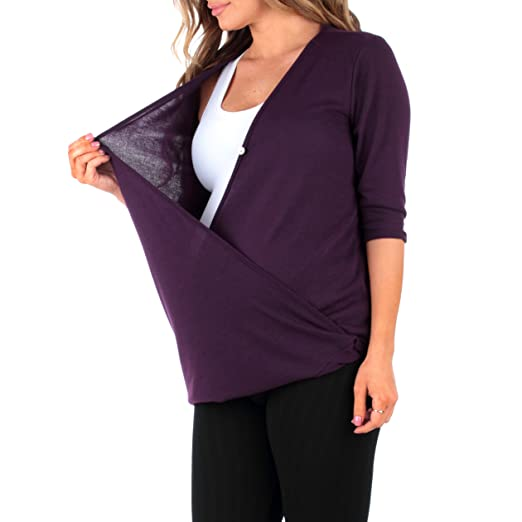 Mother Bee Women's Criss Cross Maternity and Nursing Wrap Tunic, X-Large, Purple