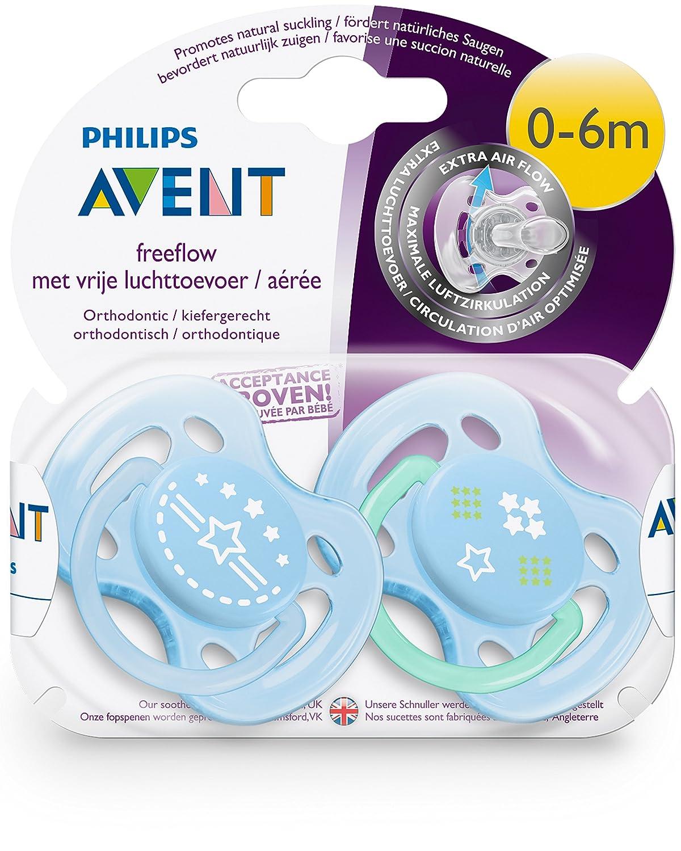 Philips Avent SCF172//01 para ni/ño de 0-6 meses dise/ño de estrella Pack de 2 chupetes ventilados decorados