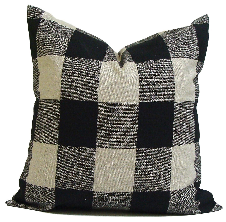 Amazon.com: Farmhouse Pillow Cover, Black Tan Pillow, Check Pillow