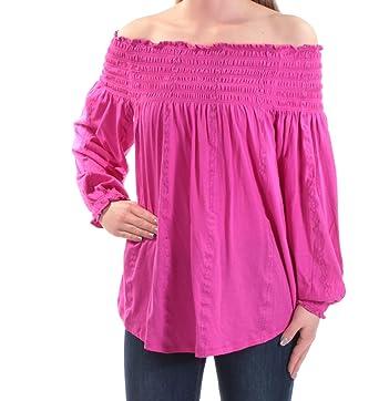 70b39882f28 Lauren by Ralph Lauren Smocked Off-The-Shoulder Top (Bold Pink, XL ...